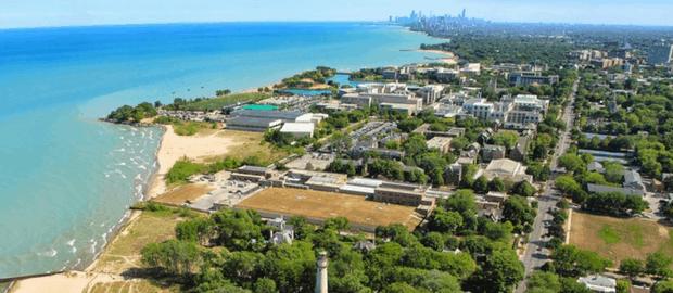 Vista aérea de Evanston, IL
