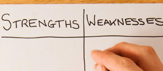 Forças e Fraquezas escritas no papel