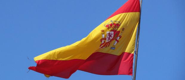 bandeira espanhola flamulando