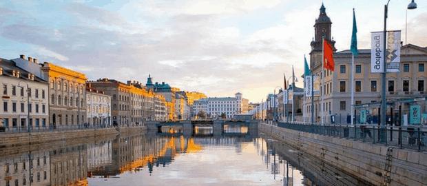 Vista de canal em Gotemburgo, na Suécia