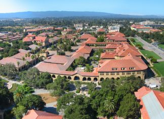 Vista aérea do campus de stanford